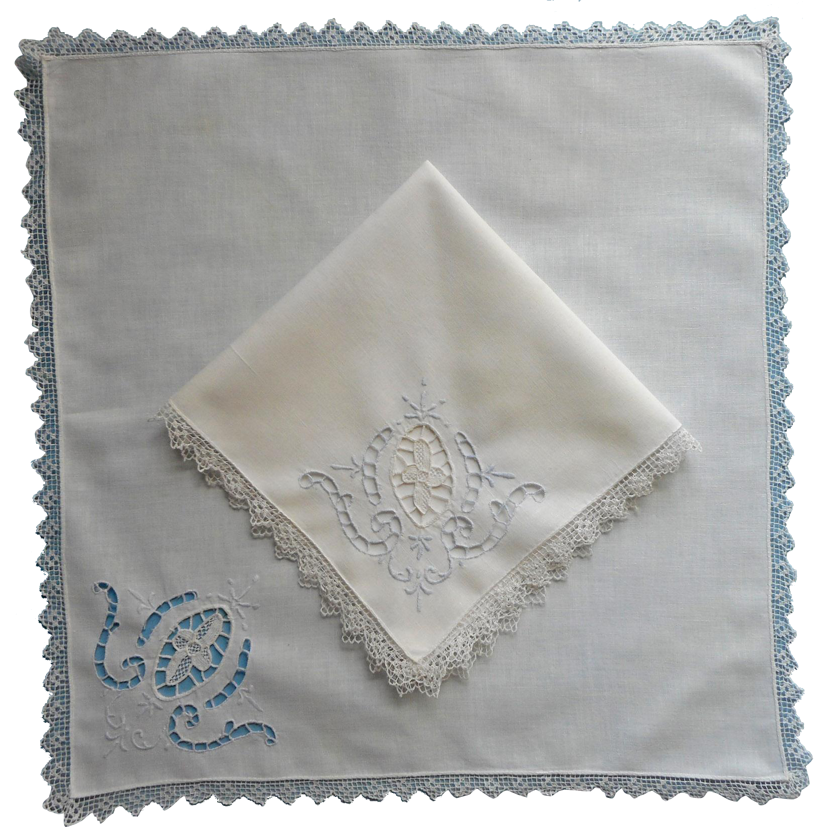 2 napkins cutwork hand embroidery needle filet lace for Glass cut work designs