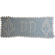 Monogram D D Antique Filet Crocheted Lace Runner ca 1915
