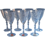 Fostoria Chintz Wine Glasses 7 Vintage Etched Original Labels Stemware