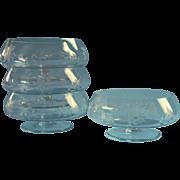 Crystal Finger Bowls Engraved Vintage Pedestal Footed