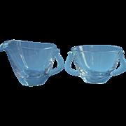 Fostoria Pine Etch Glass Sugar Bowl Creamer Set Vintage