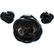 Black Enameled Rose Set Vintage Pin Pierced Earrings