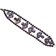 Lavender Art Glass Purple Rhinestones Vintage Bracelet TLC