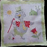 Child's Hankie Vintage Mister Duck Print Printed Cotton