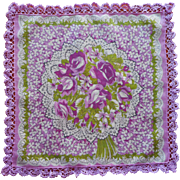 Vintage Hankie Purple Floral Print Cotton Crocheted Lace Edging