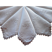 1920s Linen Lace Hand Embroidered Vintage Napkins Set 7