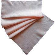 1920s Peach Linen Runner Simple Decoration Of Tiny Hemstitching Lines