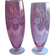 Cranberry Glass Vases Engraved Vintage Pink Tall Large