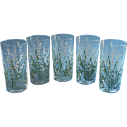 Vintage Tumblers Lily Of The Valley Drinking Glasses Midcentury