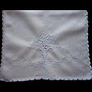 Madeira Runner Linen Vintage Hand Embroidered Cutwork Blue On White