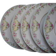 Antique China Bread Plates Pretty Pastel Pink Blue Green Yellow