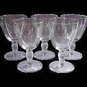 Crystal Water Goblets Vintage Simple Cut Star Burst Decoration Set 5