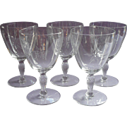 Crystal Water Goblets Vintage Simple Cut Star Burst Decoration Set 5