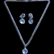 Vintage cut Crystal Heart Pierced Earrings Necklace Set