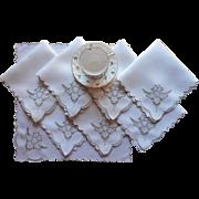 Cutwork Linen Madeira Napkins Vintage Ecru Hand Embroidery Set 8