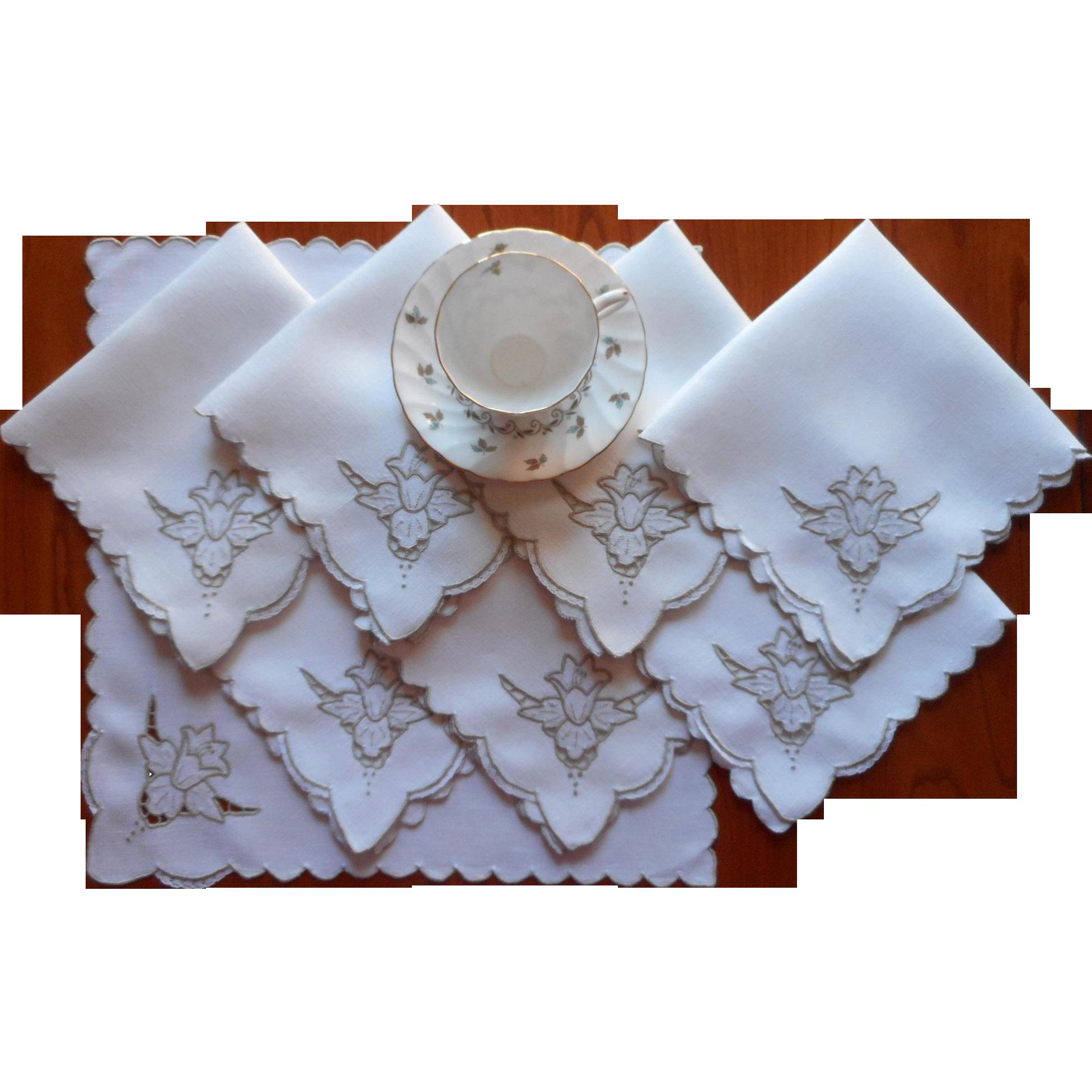 Cutwork linen madeira napkins vintage ecru hand embroidery for Glass cut work designs