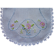 Hand Embroidered Centerpiece Vanity Doily Vintage Linen Lace Pink Blue Flowers