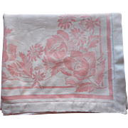 Pink Damask Tablecloth Antique Late 1910s Heavy Linen