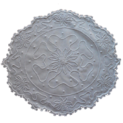 Antique Centerpiece Doily White Work Hand Embroidery Scalloped Edge