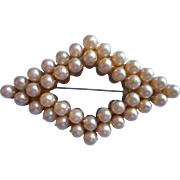 1940s Plastic Faux Pearl Pin Brooch Vintage War Time Make Do