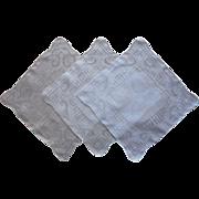 3 Hankies Fine Drawn Thread Work Vintage Linen Unused Embroidered