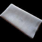 Monogram F Antique Linen Towel Damask