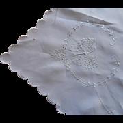 c1920 Linen Cutwork Hand Embroidery Tablecloth Napkins Butterflies TLC