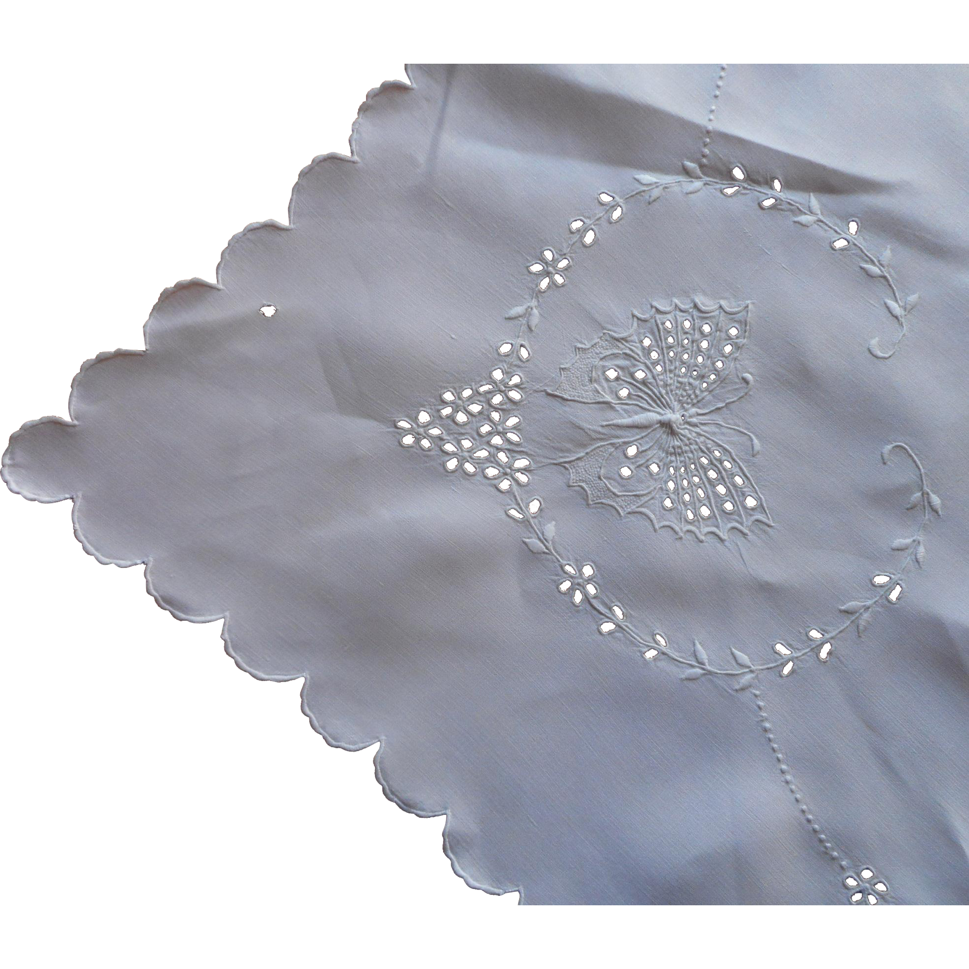 C1920 linen cutwork hand embroidery tablecloth napkins for Glass cut work designs