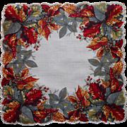 Vintage Hankie Unused Leaves Leaf Print Cotton