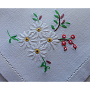 Napkins Hand Embroidered Vintage Linen White Pink Green Luncheon