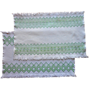 Swedish Embroidery Pair Tray Cloths Vintage Green White Fringed - Red Tag Sale Item