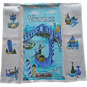 Vintage Parisian Prints Linen Towel Venice Aqua Blue Turquoise Unused w Label