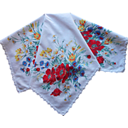 Wilendur Print Tea Tablecloth Topper Poppies Daisies Cornflowers