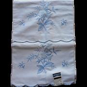 Vintage Pillowcases Blue Embroidery Unused Original Label Cotton 1960s