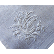 French Monogram G Antique Linen Damask Napkins Set 6