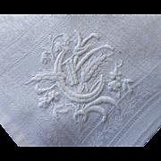 French Monogram G Antique Linen Damask Napkins Set 6