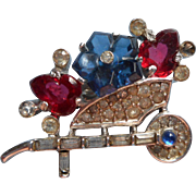 Alfred Philippe Crown Trifari Fruit Salad Vintage Pin Flower Cart Wheelbarrow