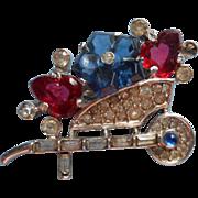 Alfred Philippe Crown Trifari Fruit Salad Vintage Pin Flower Cart Wheelbarrow