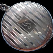 Monogram P Sterling Locket Large Vintage 1940s Silver Machined Stripes
