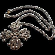 Tortolani Vintage Pendant Necklace circa 1970 Big Antique Silver Finish Chain