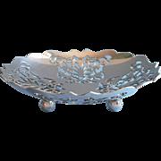 English Mappin Webb Vintage Bonbon Dish Silver Plated Pierced Ball Feet