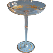 Engraved Tazza Gold Glass Antique High Candy Relish Compote