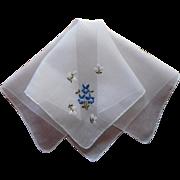 Vintage Hankie Hand Embroidery Blue Violets