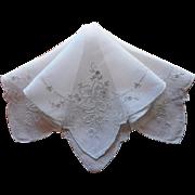 Vintage Hankie Fine Hand Embroidery Linen Unused