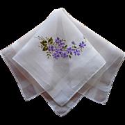 Vintage Hankie Violets Embroidery Fine Sheer Cotton