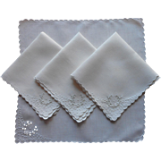 Tea Napkins Vintage Cutwork Linen hand Embroidered 1910s to 1940s