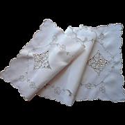 Madeira Runner Vintage Linen Ecru Cutwork Hand Embroidery