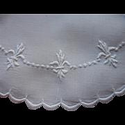 Fleur De Lis Hand Embroidery Antique Doily