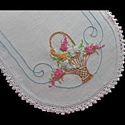 1920s Runner Basket Lilacs Hand Embroidered Vintage Linen Lace