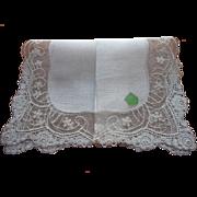 Lace Linen Hankie Vintage Unused Original Label Wedding